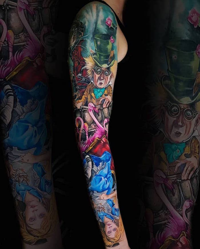 alice in wonderland characters, mad hatter, quarter sleeve tattoo, colourful tattoo, new school tattoo