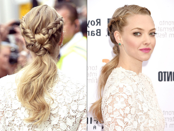 amanda seyfried, blonde hair, two braids, in a ponytail, braid hairstyles, white lace dress