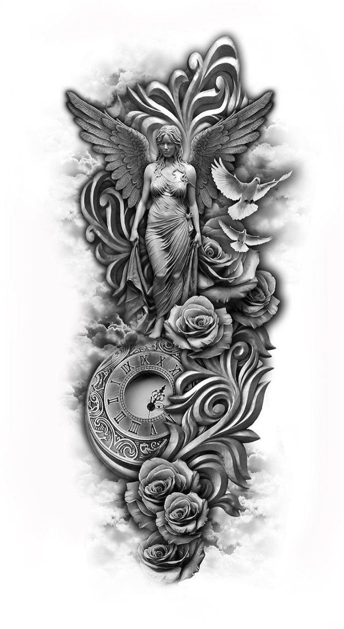 black and white sketch, sleeve tattoos, religious theme, roses and birds, angel and clock
