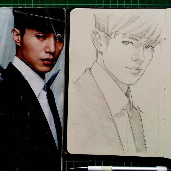 black and white, pencil sketch, drawn from photo, how to draw anime step by step