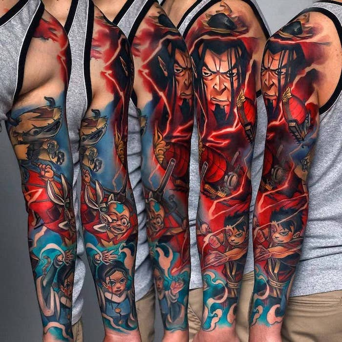 new school tattoo, anime characters, colourful tattoo, quarter sleeve tattoo, grey top, khaki pants
