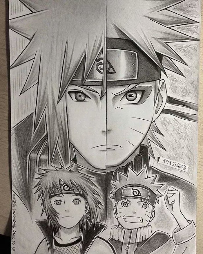 black and white, pencil sketch, anime characters, split drawing, how to draw anime