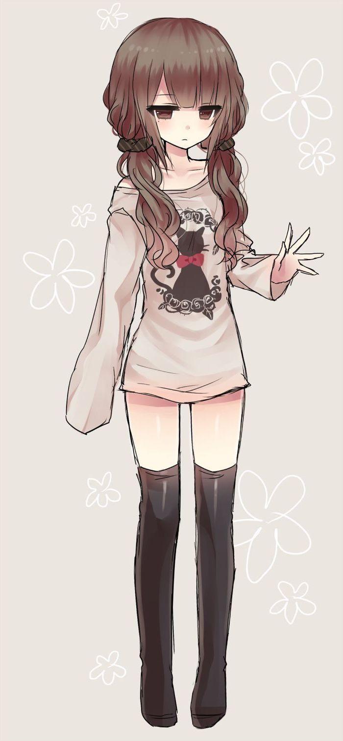 anime girl drawing, colourful drawing, long black socks, beige blouse, brown hair