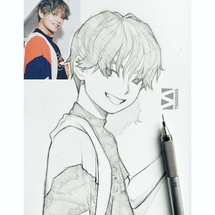 black and white, pencil sketch, drawn from photo, how to draw anime step by step, boy drawing