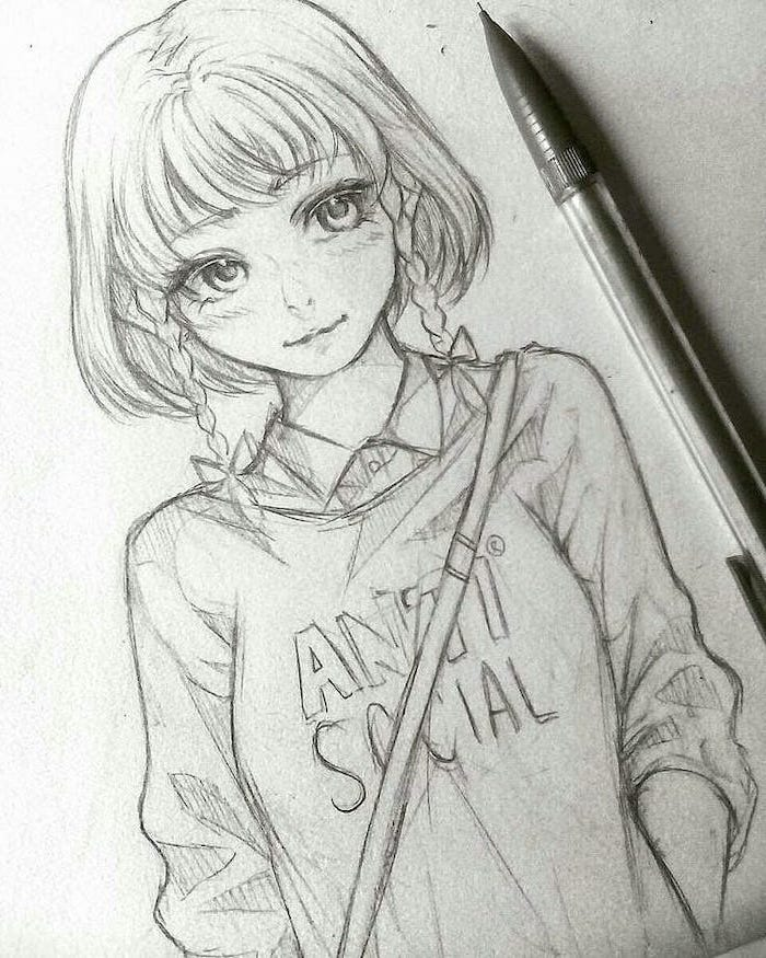 girl drawing, how to draw anime step by step, pencil sketch, step by step