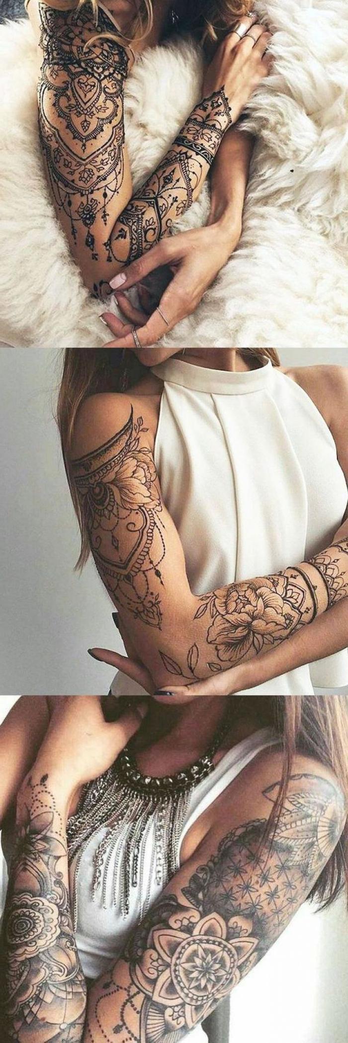 three different tattoos, white top, mandala tattoos, half sleeve tattoo ideas, side by side photos