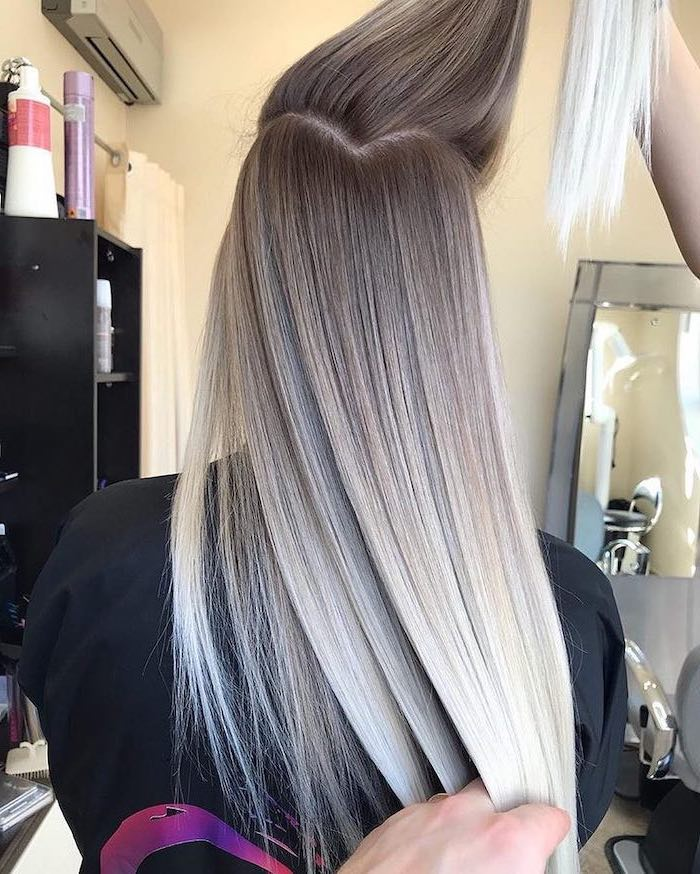 dark blonde, to platinum blonde, pink ombre hair, long straight hair