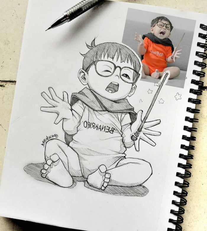 how to draw anime eyes, baby boy, black and white, pencil sketch, drawn from photo
