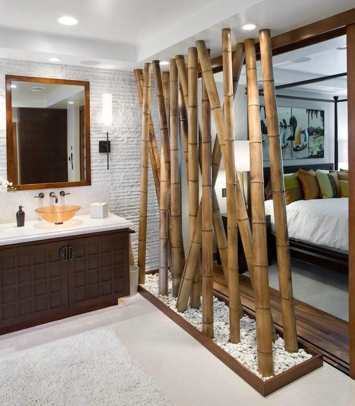 white floor, room dividers, made of bamboo sticks, separated bathroom and bedroom, large mirror