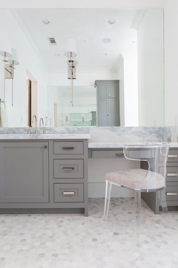 grey table with drawers, marble countertop, acrylic chair, diy makeup vanity, mosaic floor