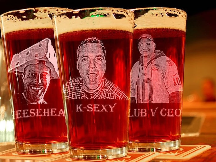 beer glasses, with photos of the groomsmen, with their nicknames, groomsmen gift box