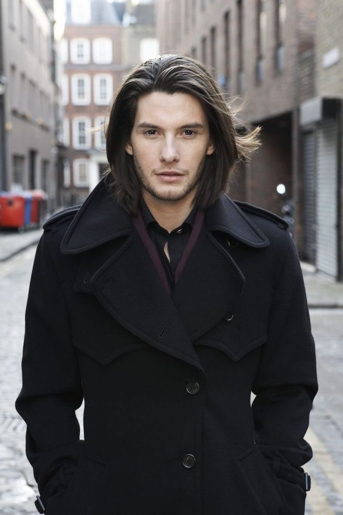 ben barnes, black hair, medium length, long hairstyles for men, long black coat
