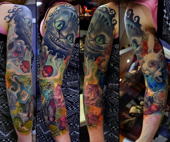 alice in wonderland characters, cheshire cat, quarter sleeve tattoo, side by side photos
