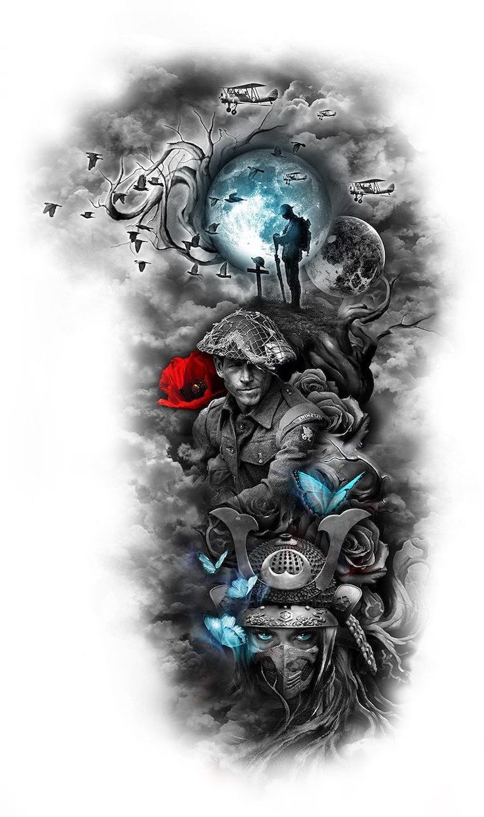 half sleeve tattoo, black and white sketch, soldiers and warriors, blue butterflies and moon, red flower