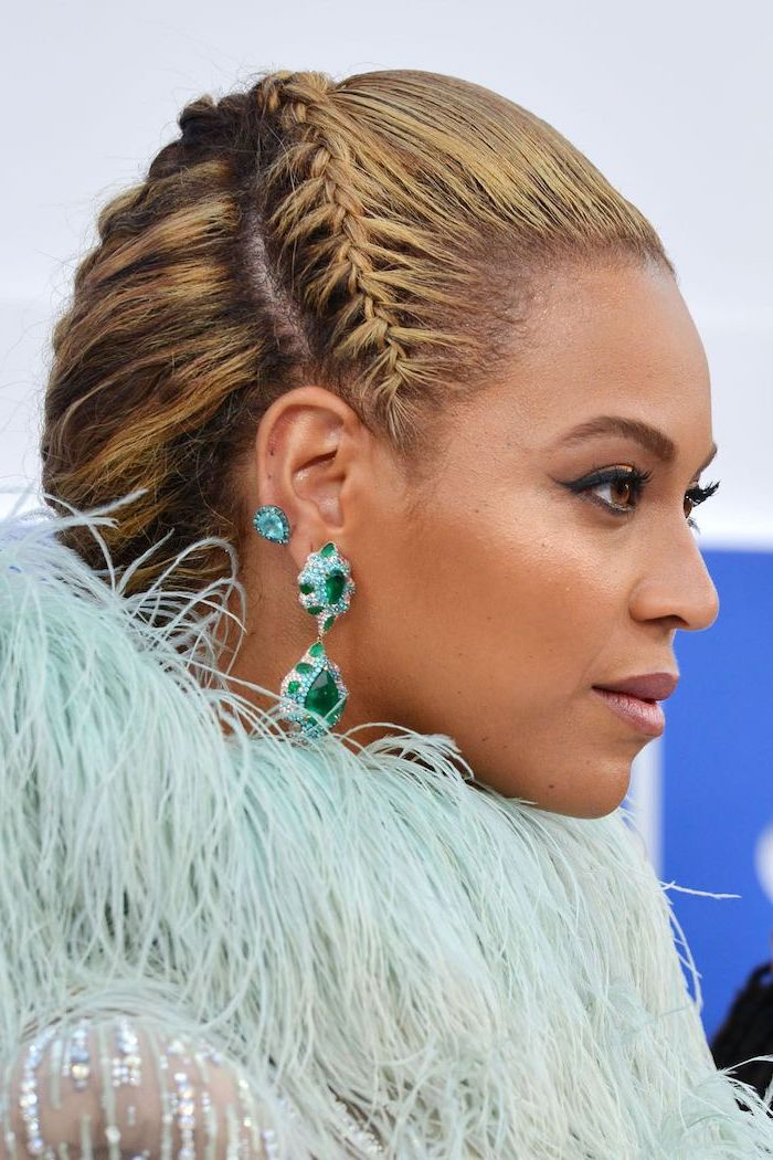 beyonce photographed, with a braided hair, braid hairstyles, large emerald earrings