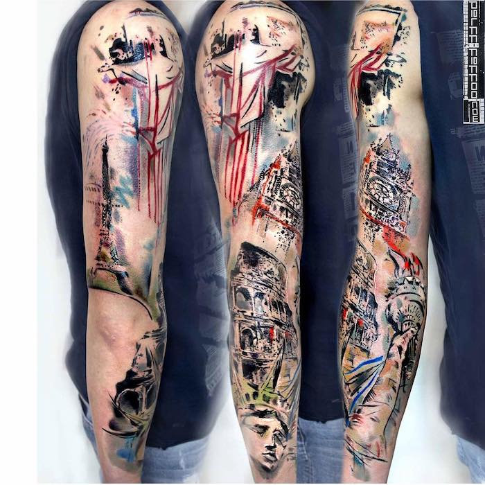 big ben, eiffel tower, statue of liberty, travel inspired, half sleeve tattoo, white background