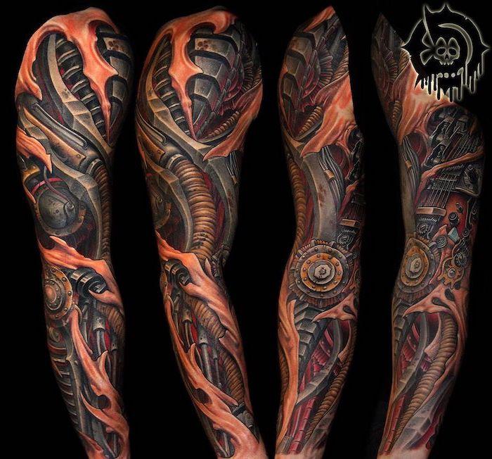 biomechanical coloured tattoo, half sleeve tattoo, black background