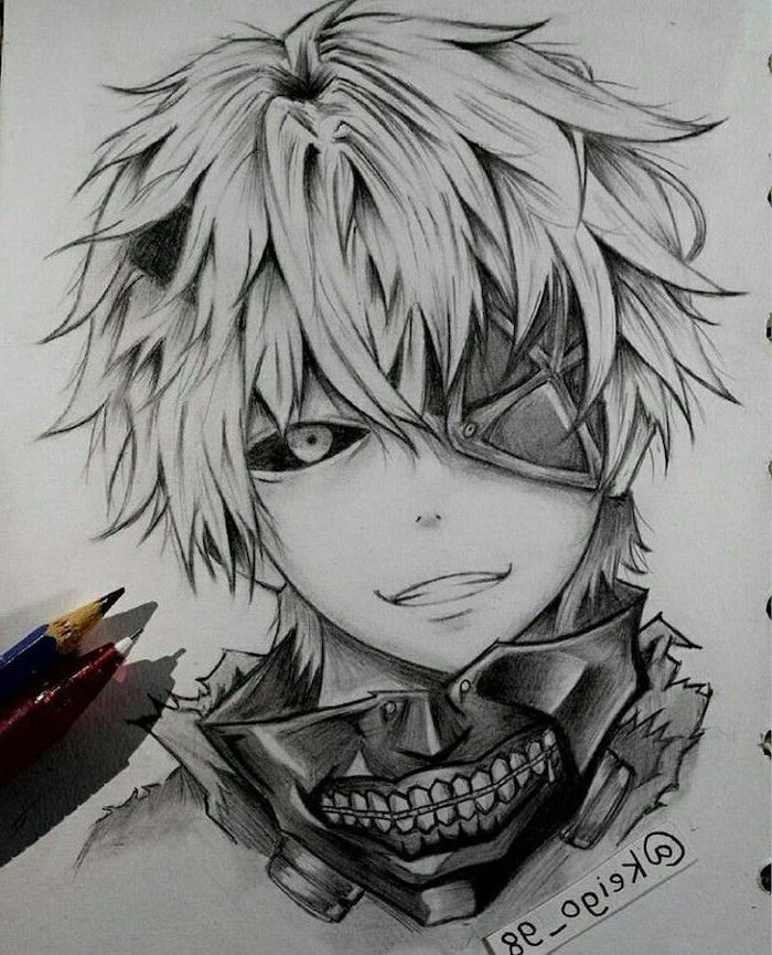 boy drawing, pencil sketch, how to draw anime step by step, black and white
