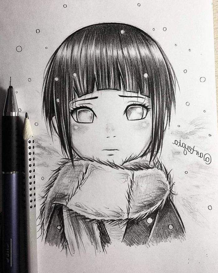 anime boy hair, girl drawing, black hair, with bangs, black and white, pencil sketch