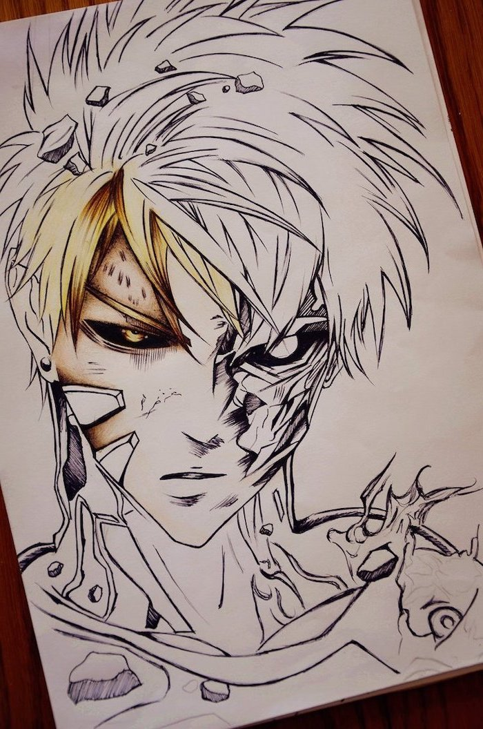 black and white, pencil sketch, with some yellow, how to draw anime eyes