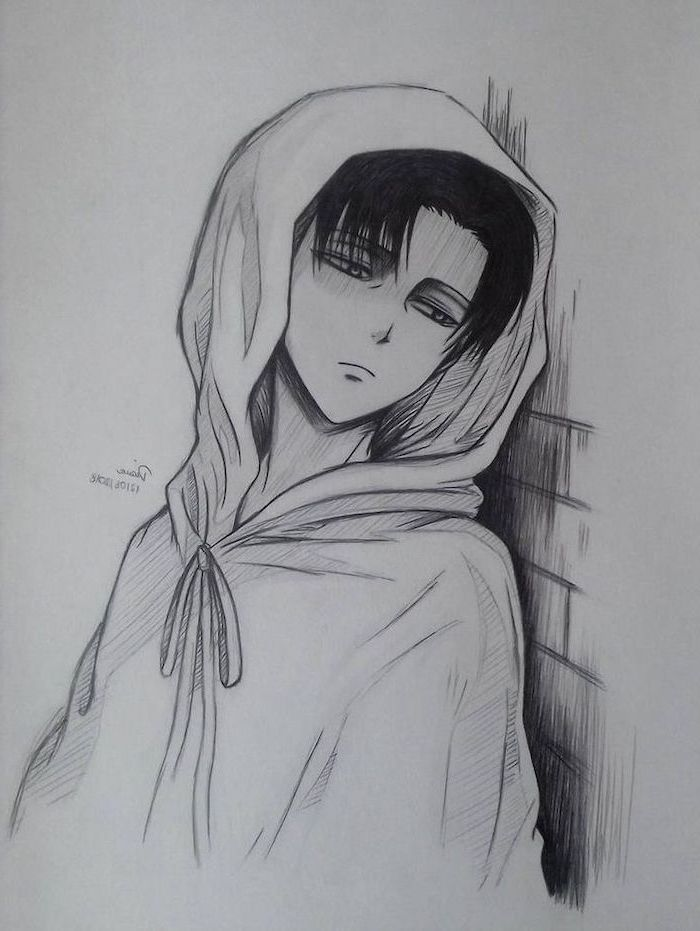 boy leaning on wall, anime boy hair, black and white, pencil sketch