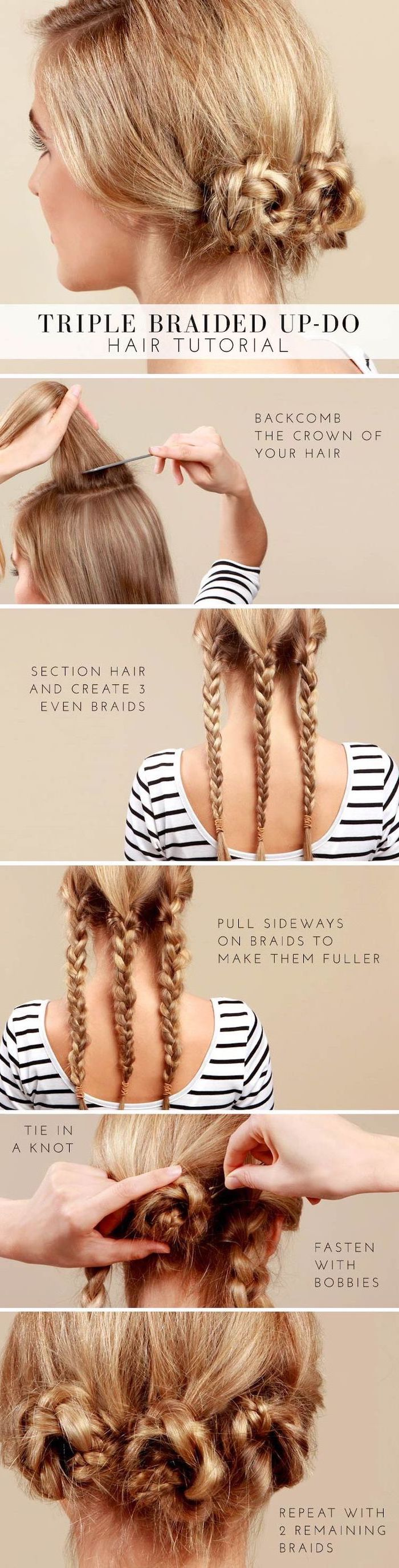 braid hairstyles, step by step, diy tutorial, triple braided updo, blonde hair
