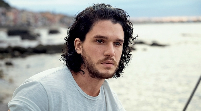 kit harrington, black curly hair, medium length, long hairstyles for men, grey t shirt