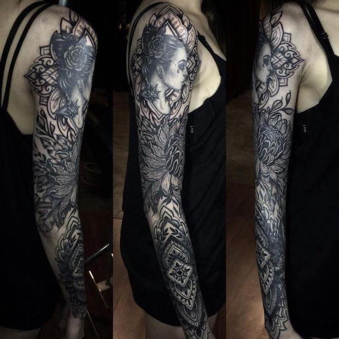 three photos, taken from different angles, mandala tattoo, black dress, quarter sleeve tattoo