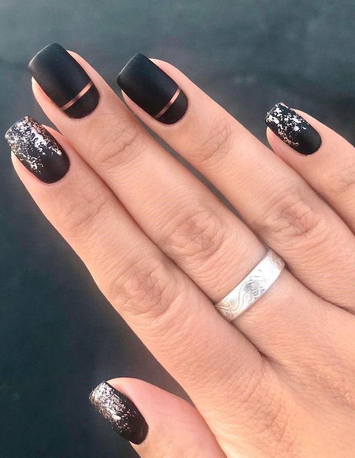 black matte nail polish, silver brush strokes, rose gold lines, cute nail designs, silver ring