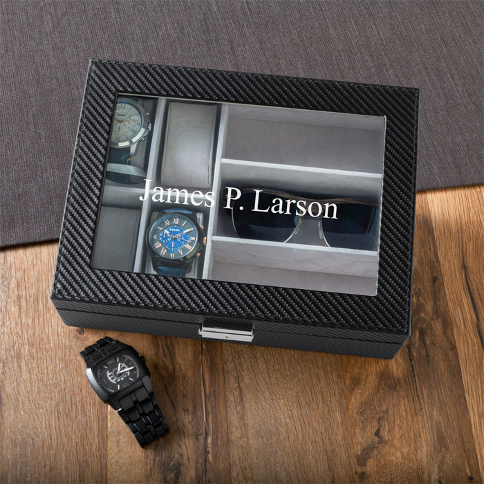 black metal box, for watches and sunglasses, groomsmen gifts, personalised with name