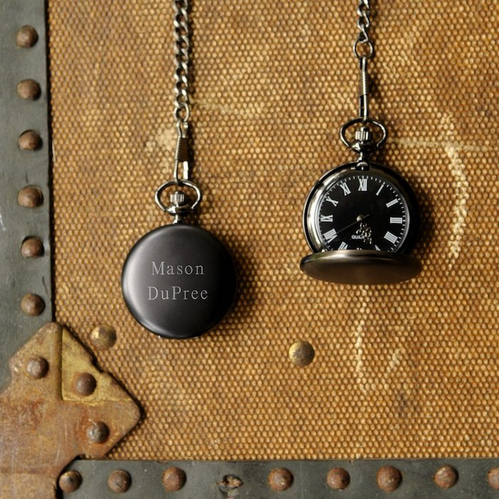 unique groomsmen gifts, black metal, stop watch, personalised with name