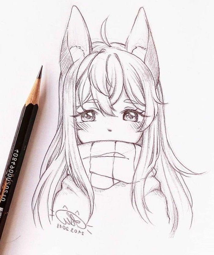 pencil sketch, black and white, anime boy hair, black pencil, girl drawing