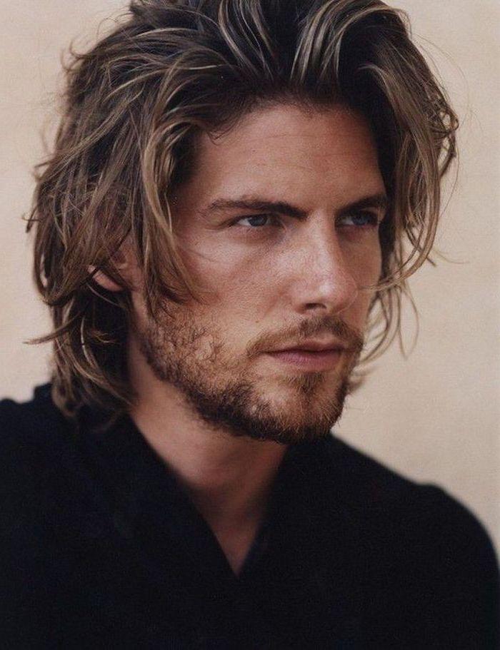 blonde hair, black shirt, cool haircuts for men, white background