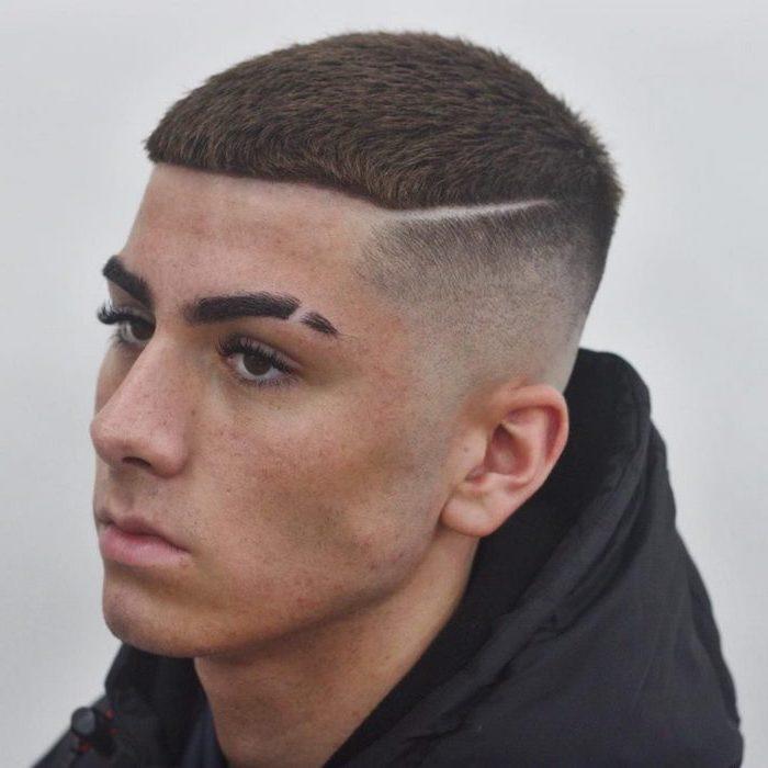 black sweatshirt, brown hair undercut, cute boy haircuts, white background
