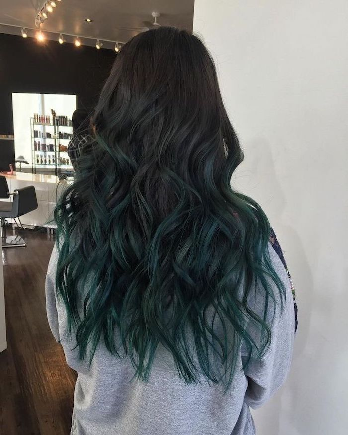 black to dark turquoise, long wavy, ombre hair, grey sweatshirt, white background