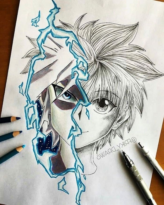 split drawing, black and white, pencil sketch, with some blue, how to draw anime eyes
