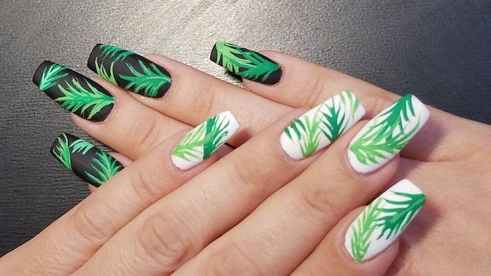 black and white matte nail polish, cute nail designs, green palm leaves, black background