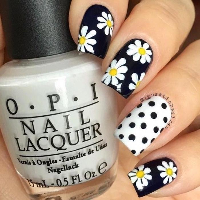 black and white nail polish, white daisies, black dots, matte nail designs, nail polish bottle