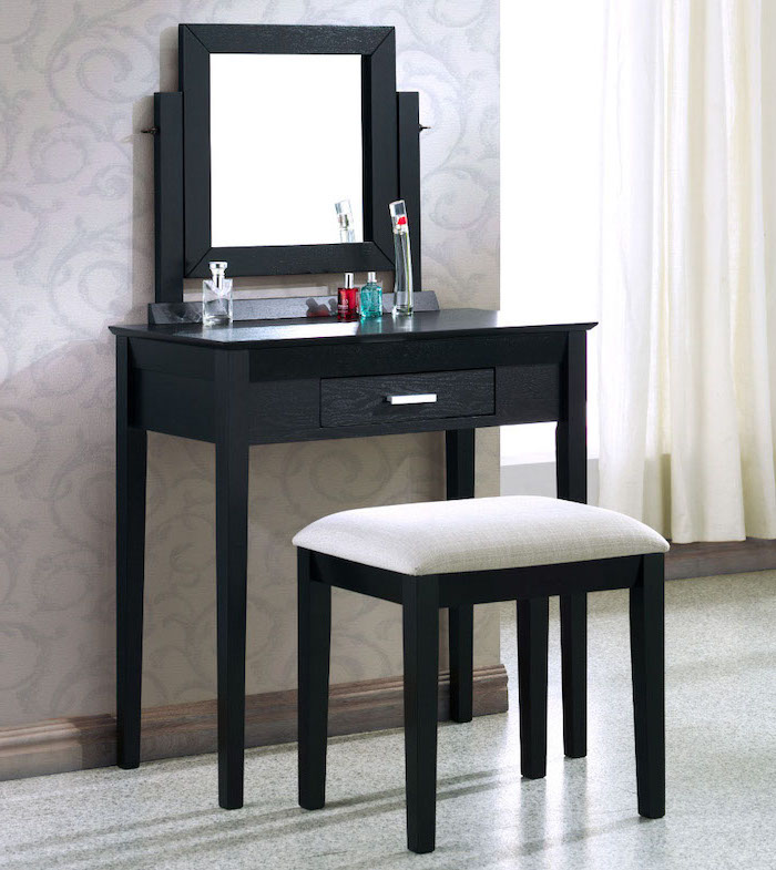 black wooden table, makeup vanity with lights, wooden stool, square mirror, mosaic floor, grey wallpaper