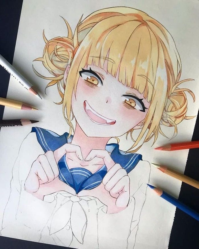 girl drawing, blonde hair, blue scarf, pencil drawing, how to draw anime characters
