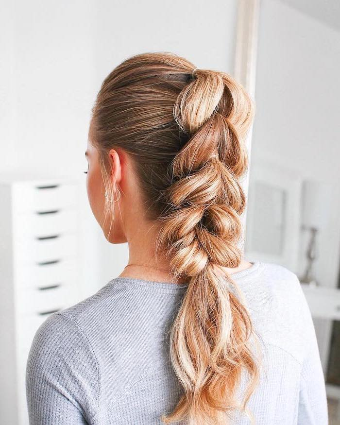 grey sweater, braid hairstyles for girls, blonde hair, ponytail braid, white background