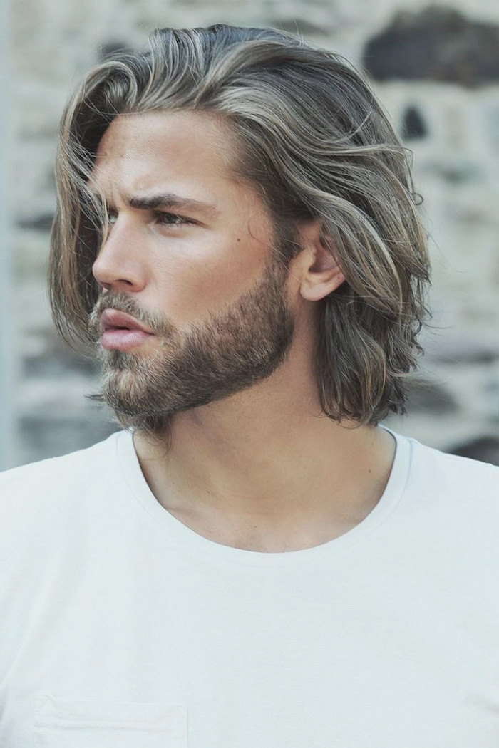 blonde hair and beard, white t shirt, hairstyles for men, medium length