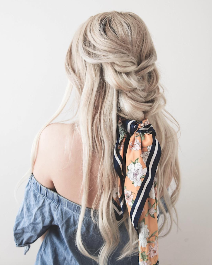 loose braid, blonde hair, orange scarf, braid hairstyles for girls, blue off the shoulder top