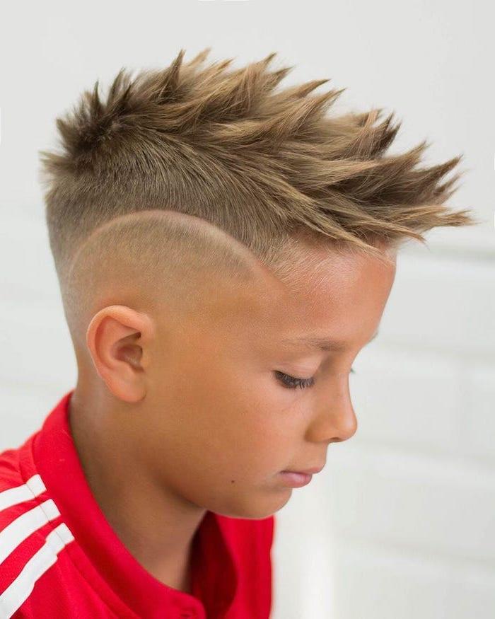 blonde spiky hair, red sweatshirt, little boy haircuts, white background