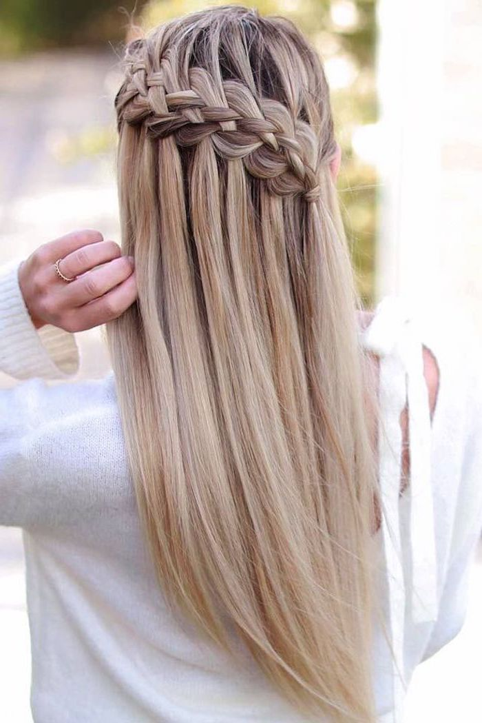 box braids hairstyles, blonde hair, waterfall braid, white sweater