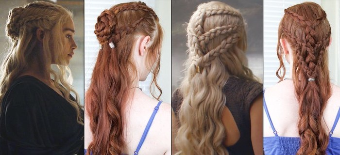 khaleesi braids, daenerys targaryen, game of thrones inspired, braid hairstyles for girls