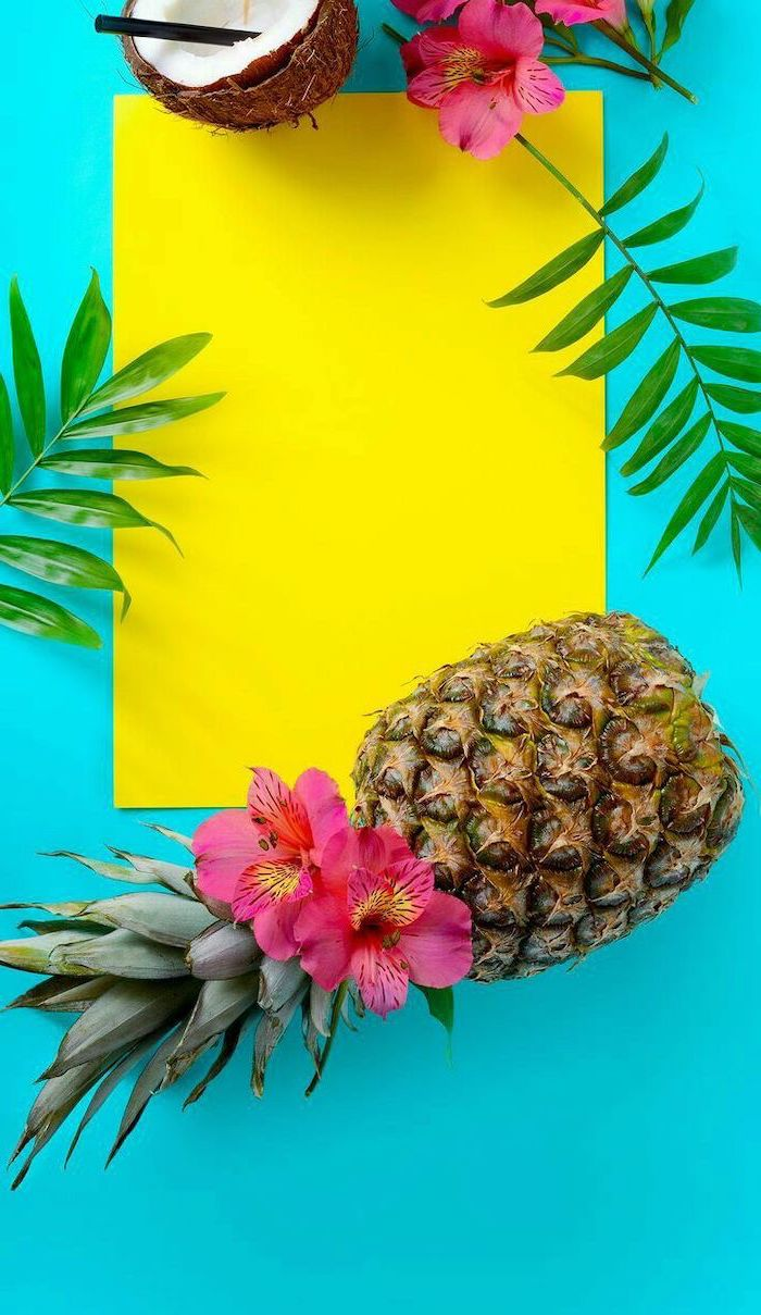 cute wallpapers, pineapple and coconut, pink flowers, yellow paper, green palm leaves