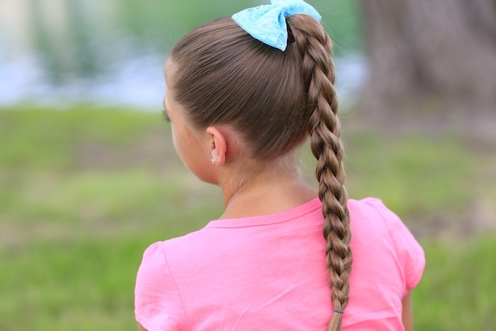 braided ponytail, blue bow, pink shirt, little girl, box braids hairstyles