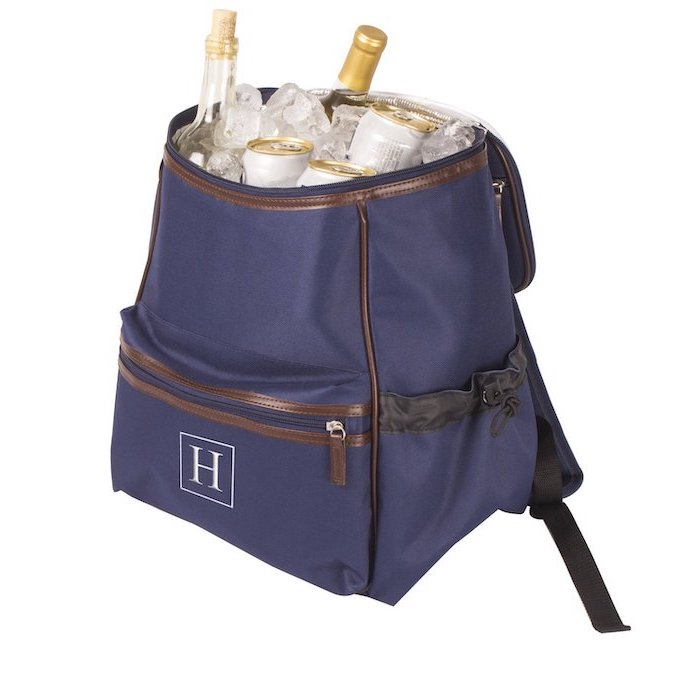 blue backpack, cooling bag, unique groomsmen gifts, filled with ice, wine bottles, beer cans, personalised with inital