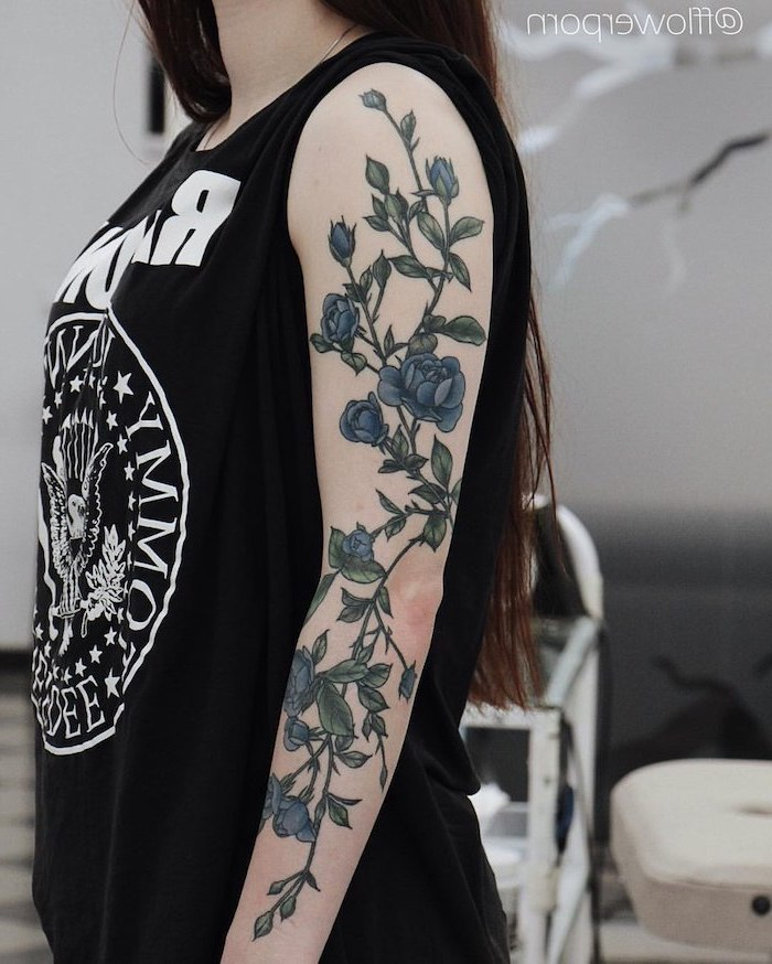 blue flowers, half sleeve tattoos for men, black ramones t shirt, brown hair